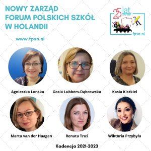 Zarząd Forum Polskich Szkół wHolandii- kadencja 2021-2023